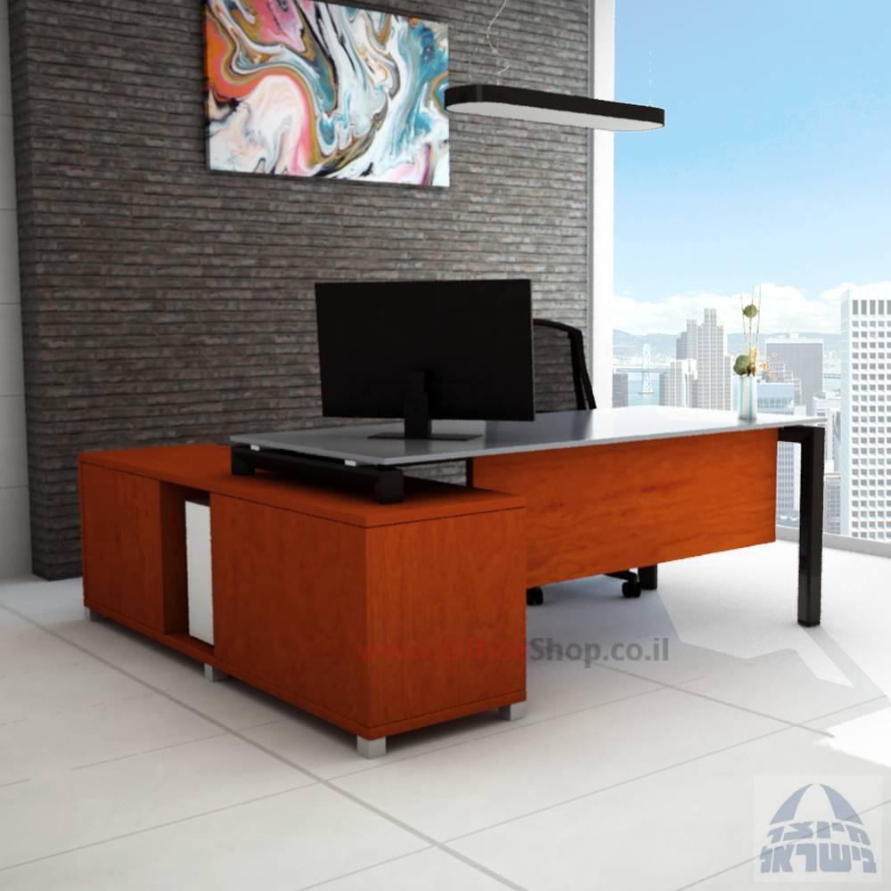 שולחן מנהלים פינתי דגםSapirרגל שחורה כולל זכוכית אפורה