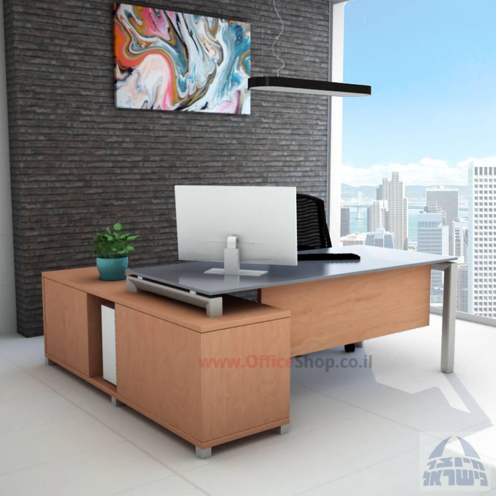 שולחן מנהלים פינתי דגם Sapir רגל כסופה כולל זכוכית אפורה