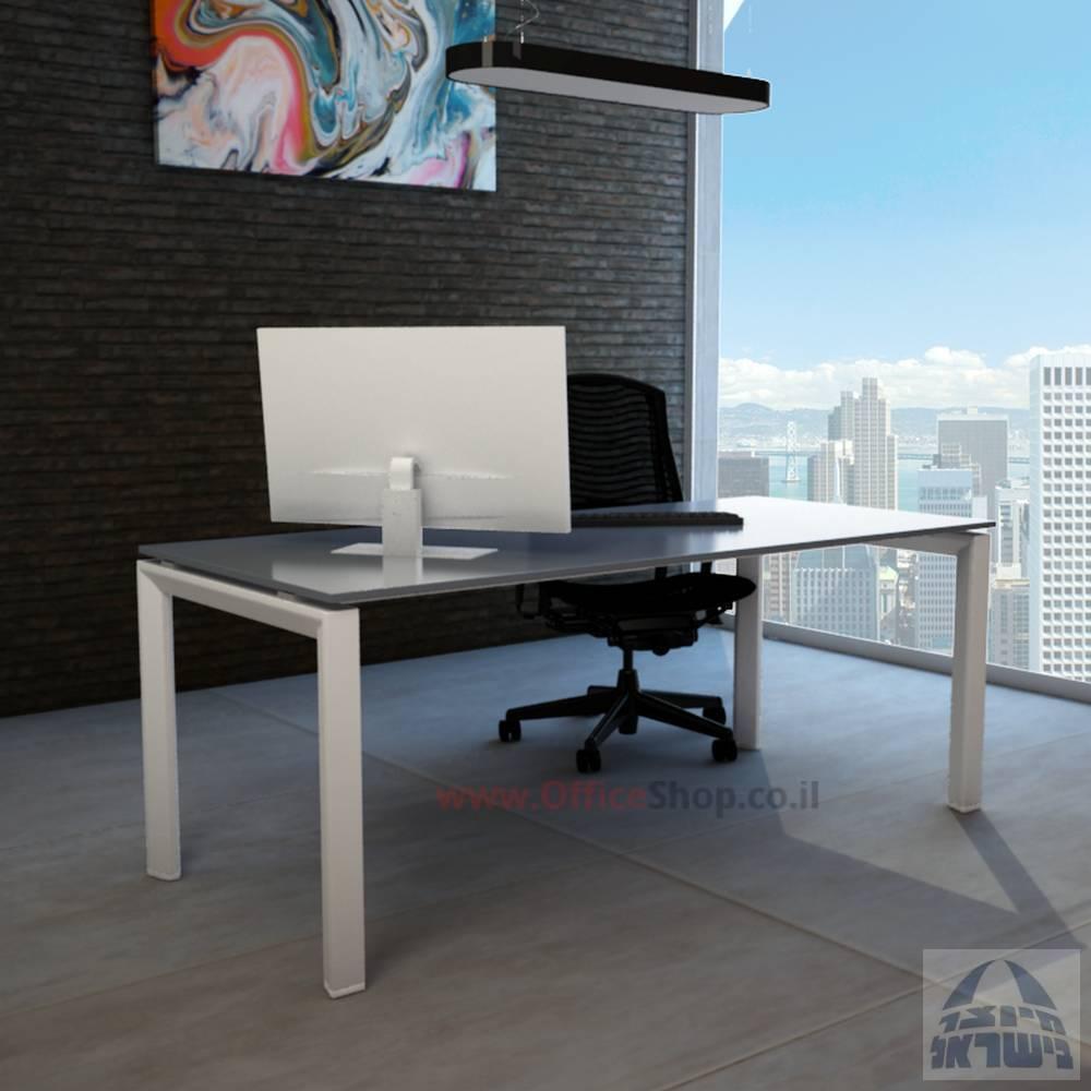 שולחן מחשבזכוכית אפורהמחוסמת דגם Sapirרגל לבנה