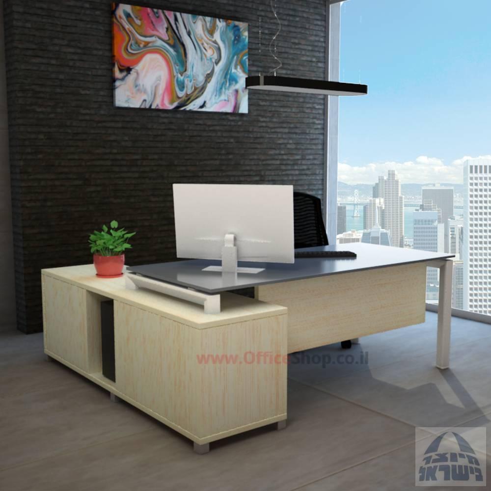 שולחן מנהלים פינתי דגםSapirרגל לבנה כולל זכוכית אפורה