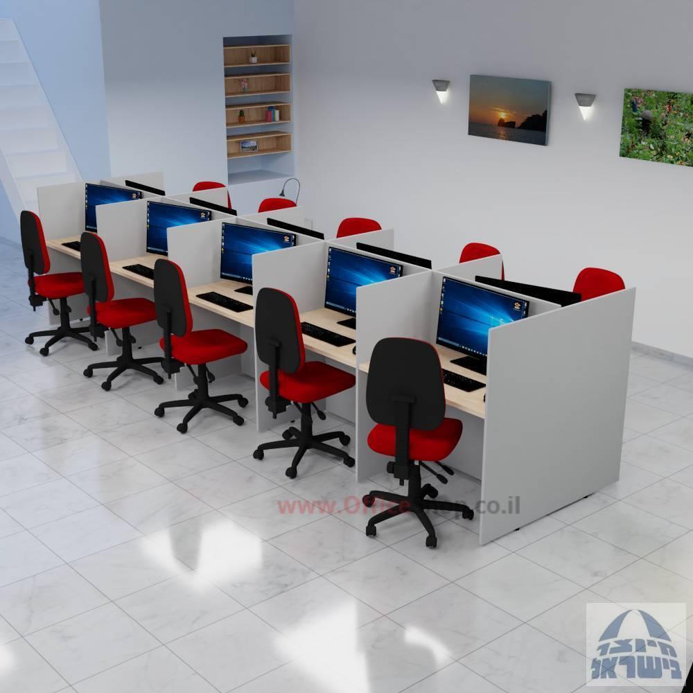 עמדת טלמרקטינג 17 מ''מ דו צדדית ל 10 עובדים - פינות ישרות