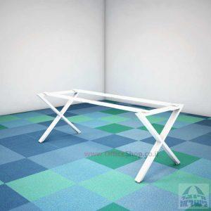 קיט רגלי מתכת טלסקופיותלשולחן משרדי EXTRA בצבע לבן
