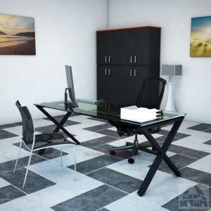שולחן Extra  Glass זכוכית שקופה רגל שחורה