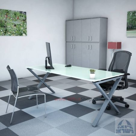 שולחן EXTRA זכוכית לבנה רגל שחורה