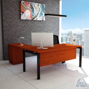 שולחן מזכירה מפואר  5M-Sapir רגל שחורה כולל מיסתור עץ