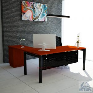 שולחן מזכירה מפואר  5M-Sapir רגל שחורה כולל מיסתור מתכת