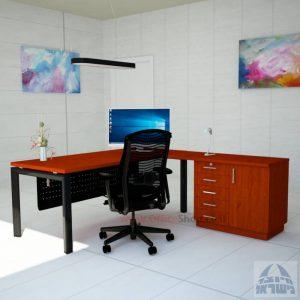 שולחן מזכירה יוקרתי 5MD-Sapir רגל שחורה כולל מיסתור מתכת