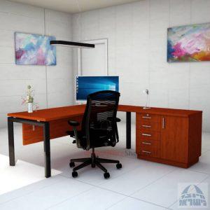 שולחן מזכירה יוקרתי 5MD-Sapir רגל שחורה כולל מיסתור עץ
