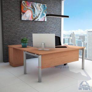 שולחן מזכירה מפואר דגם 5M-Sapir רגל כסופה כולל מיסתור עץ