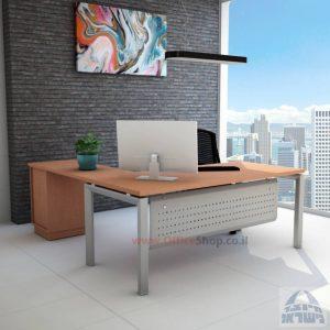 שולחן מזכירה יוקרתי דגם 5M-Sapir רגל כסופה כולל מיסתור מתכת