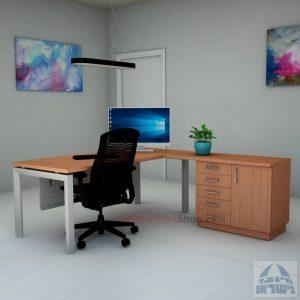 שולחן מזכירה יוקרתי 5MD-Sapir רגל כסופה כולל מיסתור מתכת