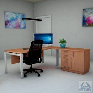 שולחן מזכירה יוקרתי 5MD-Sapir רגל כסופה כולל מיסתור עץ