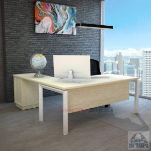 שולחן מזכירה מפואר  5M-Sapir רגל לבנה כולל מיסתור עץ
