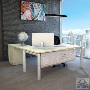 שולחן מזכירה מפואר  5M-Sapir רגל לבנה כולל מיסתור מתכת