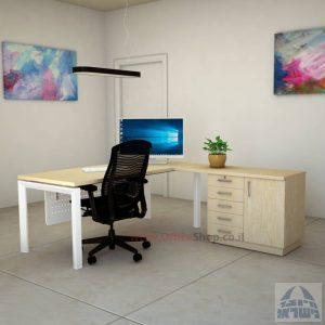 שולחן מזכירה יוקרתי 5MD-Sapir רגל לבנה כולל מיסתור מתכת
