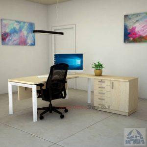 שולחן מזכירה יוקרתי 5MD-Sapir רגל לבנה כולל מיסתור עץ