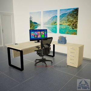 שולחן מזכירה יוקרתי דגם Rondo – M5 רגל שחורה כולל מיסתור עץ