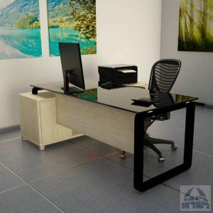 שולחן מנהלים פינתי דגם Rondo Glass רגל שחורה כולל זכוכית שחורה