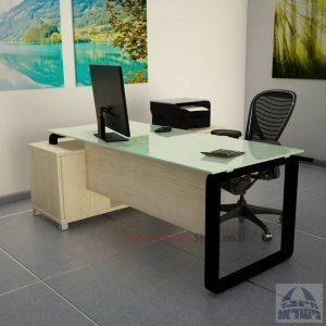 שולחן מנהלים פינתי דגם Rondo Glass רגל שחורה כולל זכוכית לבנה
