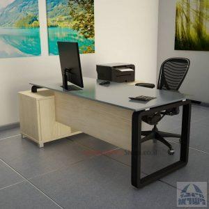 שולחן מנהלים פינתי דגם Rondo Glass רגל שחורה כולל זכוכית אפורה