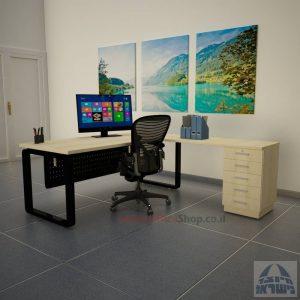 שולחן מזכירה יוקרתי דגם Rondo – M5 רגל שחורה כולל מיסתור מתכת