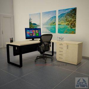 שולחן מזכירה יוקרתי דגם Rondo 5DM רגל שחורה ומיסתור מתכת