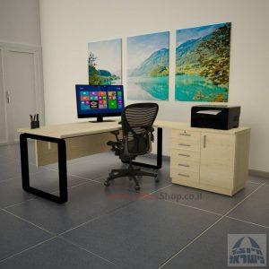 שולחן מזכירה יוקרתי דגם Rondo 5DM רגל שחורה ומיסתור עץ