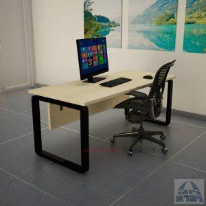 שולחן כתיבה יוקרתי דגם Rondo כולל מיסתור עץ רגל שחורה
