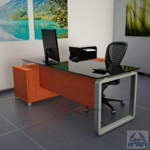 שולחן מנהלים פינתי דגם Rondo Glass רגל כסופה כולל זכוכית שחורה