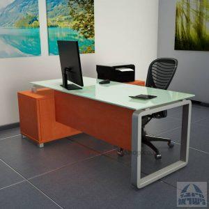 שולחן מנהלים פינתי דגם Rondo Glass רגל כסופה כולל זכוכית לבנה