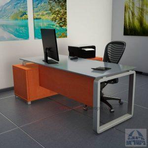שולחן מנהלים פינתי דגם Rondo Glass רגל כסופה כולל זכוכית אפורה