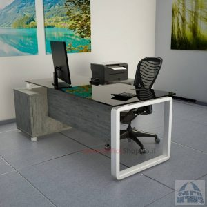 שולחן מנהלים פינתי דגם Rondo Glass רגל לבנה כולל זכוכית שחורה