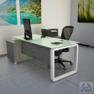 שולחן מנהלים פינתי דגם Rondo Glass רגל לבנה כולל זכוכית לבנה