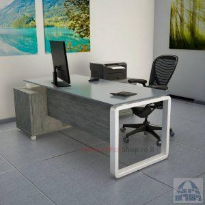 שולחן מנהלים פינתי דגם Rondo Glass רגל לבנה כולל זכוכית אפורה