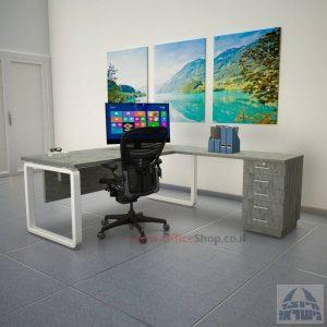שולחן מזכירה יוקרתי דגם Rondo – M5 רגל לבנה כולל מיסתור עץ