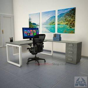 שולחן מזכירה יוקרתי דגם Rondo – M5 רגל לבנה כולל מיסתור מתכת