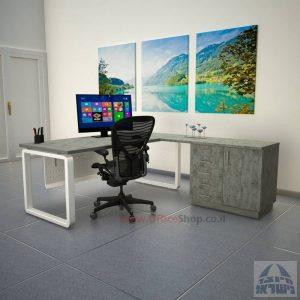 שולחן מזכירה יוקרתי דגם Rondo 5DM רגל לבנה ומיסתור מתכת