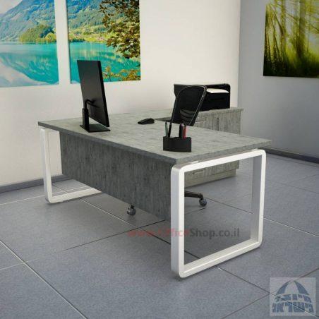 שולחן מזכירה יוקרתי דגם Rondo 5DM רגל כסופה ומיסתור מתכת