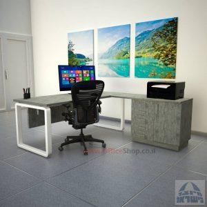 שולחן מזכירה יוקרתי דגם Rondo 5DM רגל לבנה ומיסתור עץ
