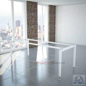 רגלי מתכת טלסקופיותלשולחן משרדי Tomer בצבע לבן