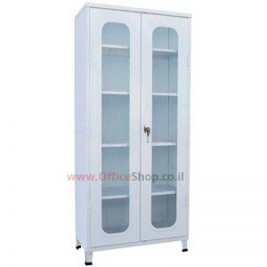 ארון ויטרינה מתכת 2 דלתות זכוכית 195X86X43 במבחר צבעי אפוקסי