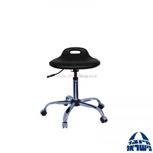 כסא מעבדה מקצועי – שרפרף PU ארגונומי – בסיס ניקל