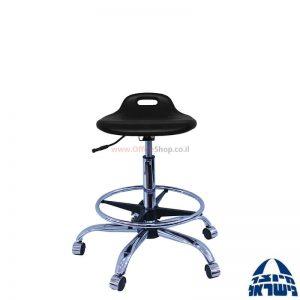 כסא מעבדה מקצועי – שרפרף PU ארגונומי – בסיס וחישוק ניקל