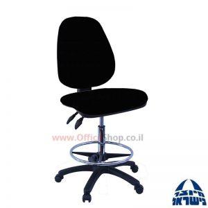 כסא שרטט מרופד TOPAZ-בסיס שחור חישוק ניקל