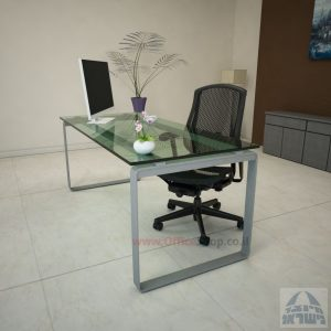 שולחן עבודה Niro Glass רגל כסופה זכוכית שקופה