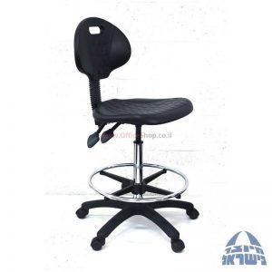 כסא מעבדה גבוה מיקה-M2 בסיס שחור חישוק ניקל