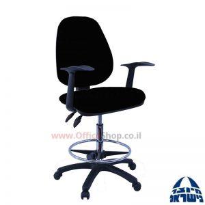 כסא שרטט מרופד TOPAZ-בסיס שחור חישוק ניקל +ידיות ארגונומיות
