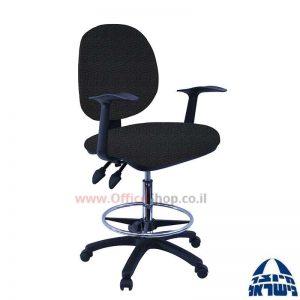 כסא שרטט מרופד דגם MORAN-בסיס שחור חישוק ניקל+ידיות ארגונומיות