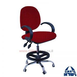 כסא שרטט מרופד דגם MORAN-בסיס ניקל חישוק שחור+ידיות סהר
