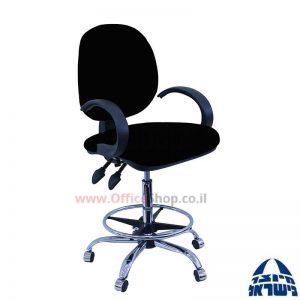 כסא שרטט מרופד דגם MORAN-בסיס ניקל חישוק ניקל+ידיות סהר